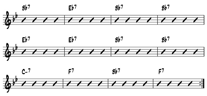 Lesson 2: One-measure jazz riffs on the roots of the B flat blues