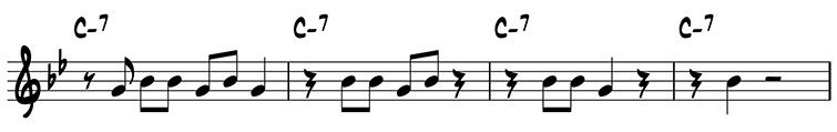 Four-measure variation using scale degrees 5 and 7 on C-7: