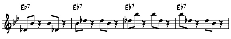 Four-measure variation using scale degrees 5 and 7 on E flat 7