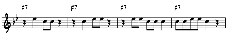Four-measure variation using scale degrees 5 and 7 on F7