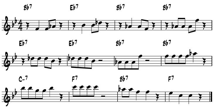 Simple variations on the blues using scale degrees 5 and 7