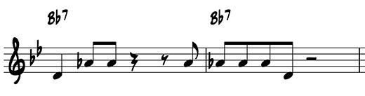 Two-measure riff using scale degrees 3 and 7 on B flat 7