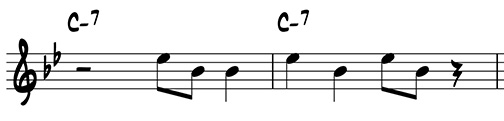 Two-measure riff using scale degrees 3 and 7 on Cm7