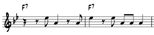 Two-measure riff using scale degrees 3 and 7 on F7